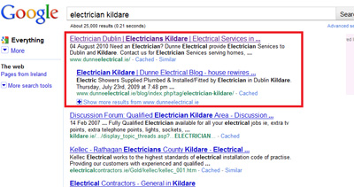 Example of SEO work on www.dunneelectrical.ie website giving top result on Google Organic Listings for the search term Electrician Kildare