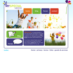 My Special Needs website. Unique website and logo design for Special Needs site developed in HTML/ASP/PHP and CSS. Blogging engine by Wordpress. Custom wordpress blog theme and skin to match the main site template and Twitter account integration.