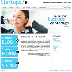 Startups.ie website. Template implementation for new Startups.ie company website. Custom wordpress blog theme and phpBB forum theme/skin to match the main site design. Twitter account integration.